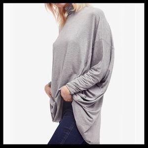 free people // terry turtleneck gray tunic top
